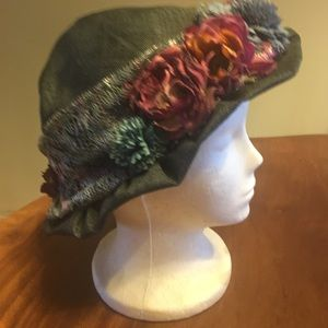 unbranded Accessories - Blue Straw-hat With Flowers One Size